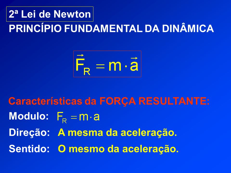 2ª Lei de Newton PRINCÍPIO FUNDAMENTAL DA DINÂMICA. Características da FORÇA RESULTANTE: Modulo: Direção: