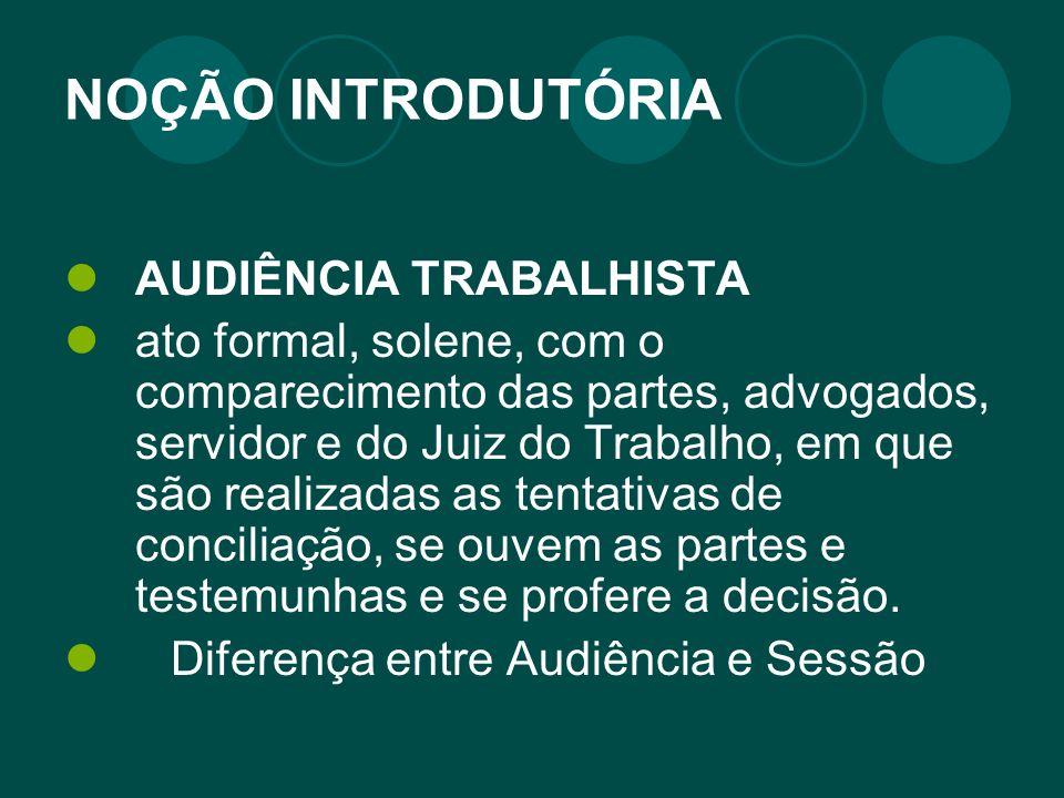 NOÇÃO INTRODUTÓRIA AUDIÊNCIA TRABALHISTA