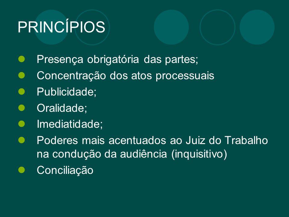 PRINCÍPIOS Presença obrigatória das partes;