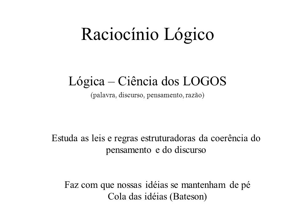Lógica – Ciência dos LOGOS (palavra, discurso, pensamento, razão)