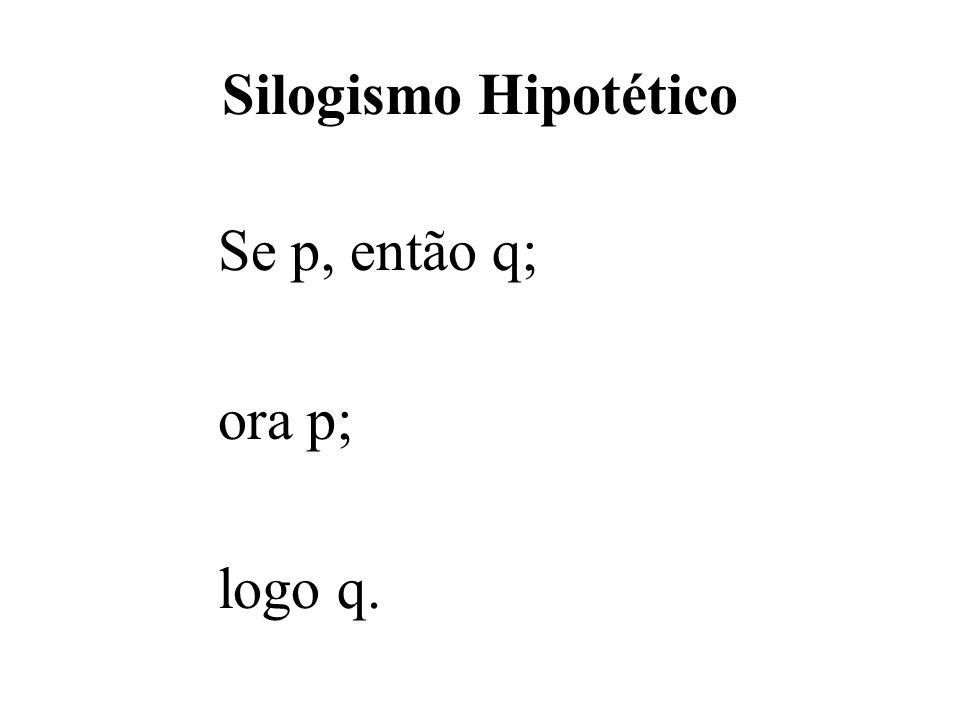 Silogismo Hipotético Se p, então q; ora p; logo q.