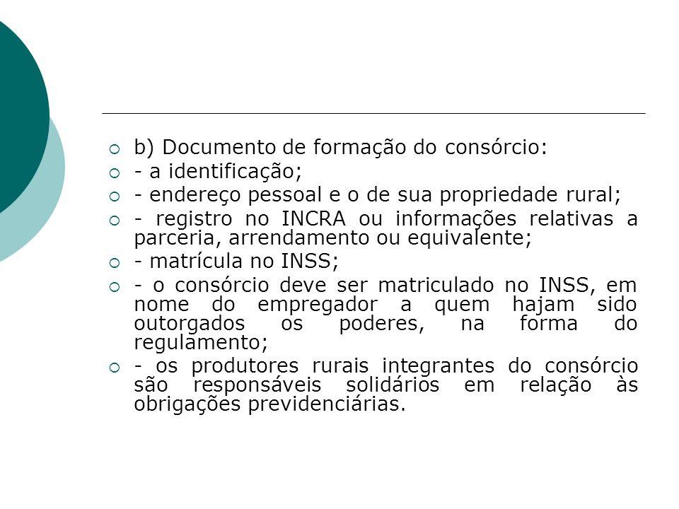 b) Documento de formação do consórcio: