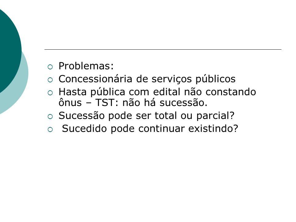 Problemas: Concessionária de serviços públicos. Hasta pública com edital não constando ônus – TST: não há sucessão.