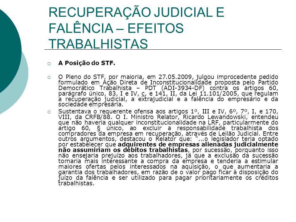 RECUPERAÇÃO JUDICIAL E FALÊNCIA – EFEITOS TRABALHISTAS