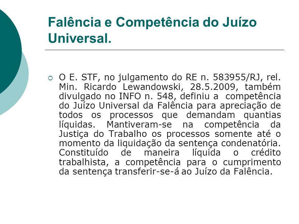 Falência e Competência do Juízo Universal.