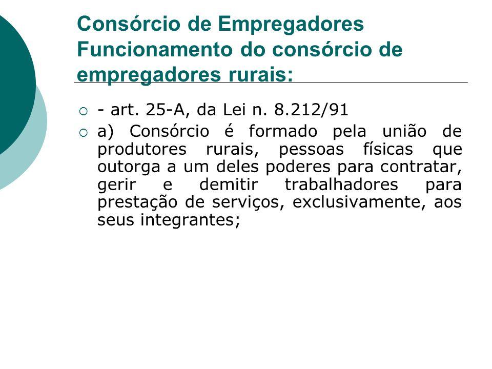 Consórcio de Empregadores Funcionamento do consórcio de empregadores rurais: