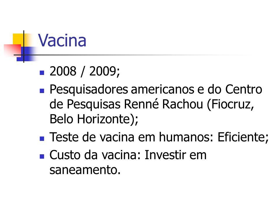Vacina 2008 / 2009; Pesquisadores americanos e do Centro de Pesquisas Renné Rachou (Fiocruz, Belo Horizonte);