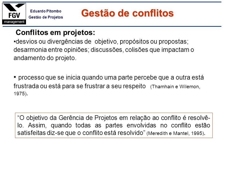 Gestão de conflitos Conflitos em projetos: