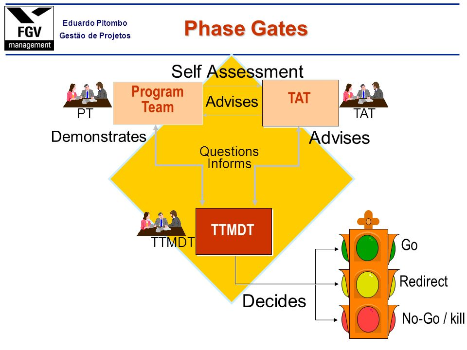 Phase Gates Self Assessment Advises Decides Program Team TAT Advises