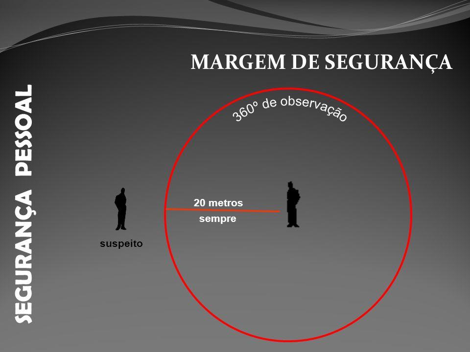 SEGURANÇA PESSOAL 360º de observação MARGEM DE SEGURANÇA 20 metros