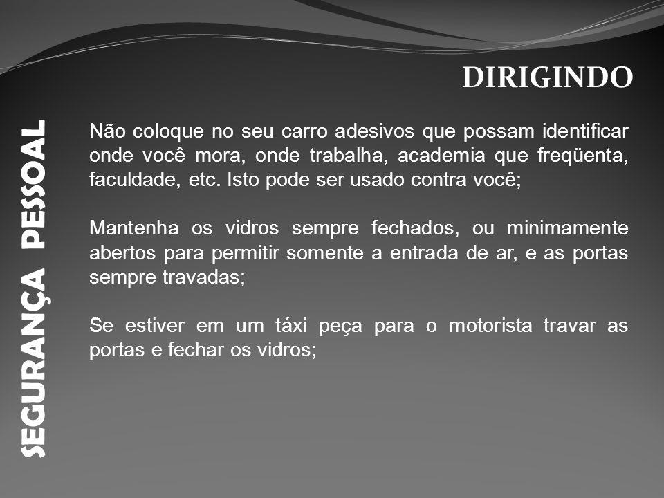 SEGURANÇA PESSOAL DIRIGINDO