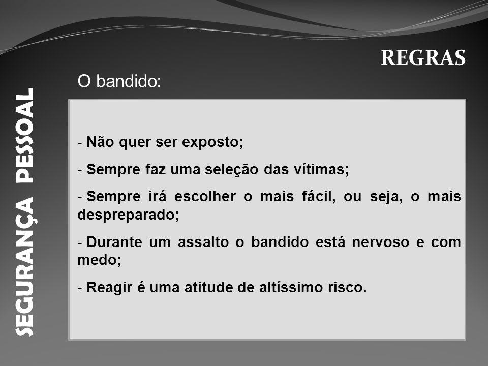 SEGURANÇA PESSOAL REGRAS O bandido: Não quer ser exposto;