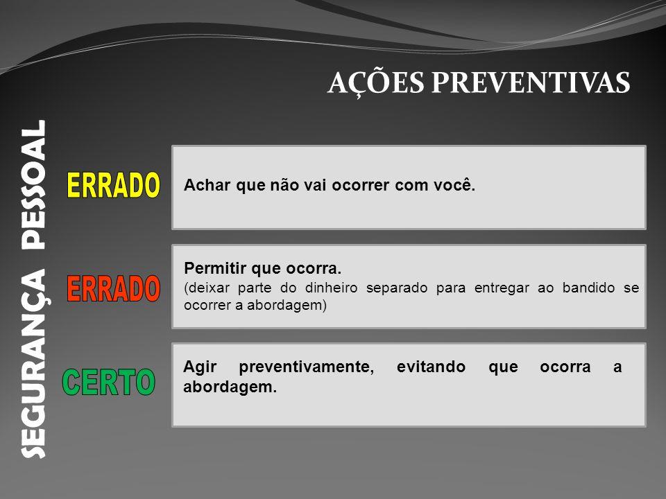 SEGURANÇA PESSOAL ERRADO ERRADO CERTO AÇÕES PREVENTIVAS
