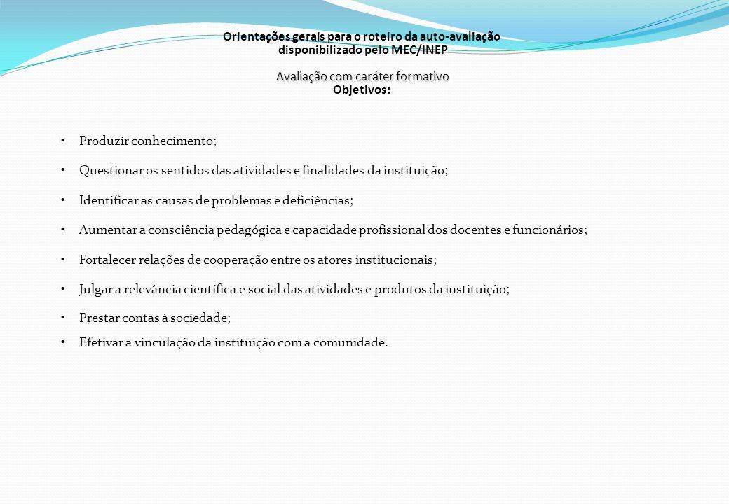 Orientações gerais para o roteiro da auto-avaliação disponibilizado pelo MEC/INEP Avaliação com caráter formativo Objetivos: