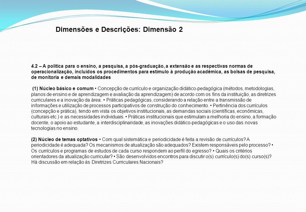 Dimensões e Descrições: Dimensão 2
