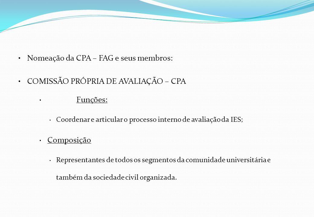 Nomeação da CPA – FAG e seus membros: