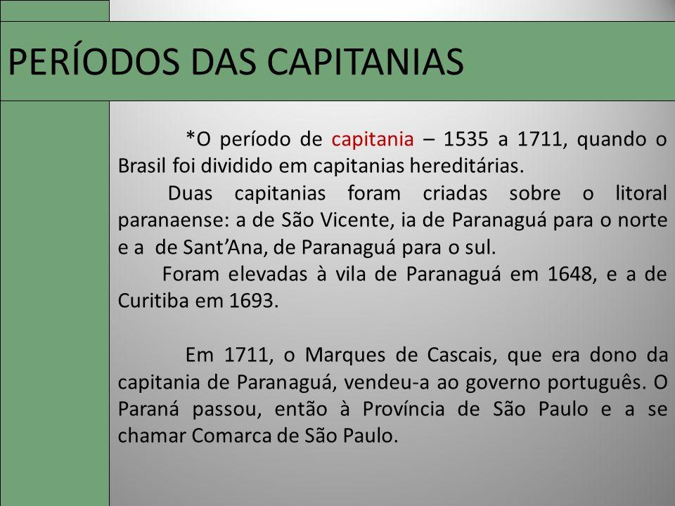 PERÍODOS DAS CAPITANIAS
