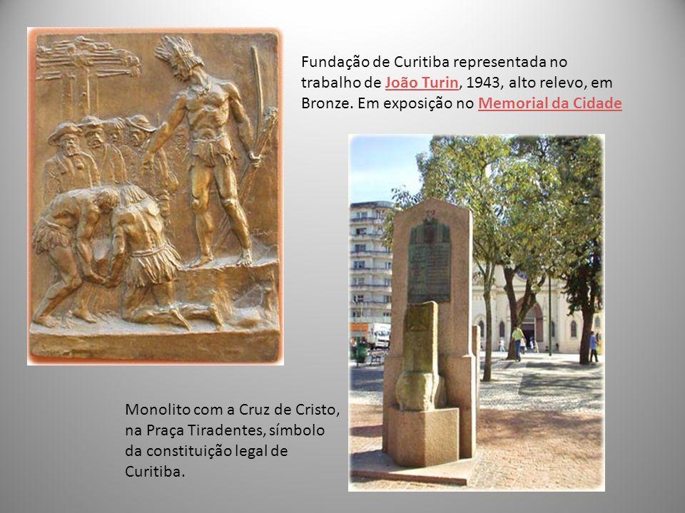 Fundação de Curitiba representada no trabalho de João Turin, 1943, alto relevo, em Bronze. Em exposição no Memorial da Cidade
