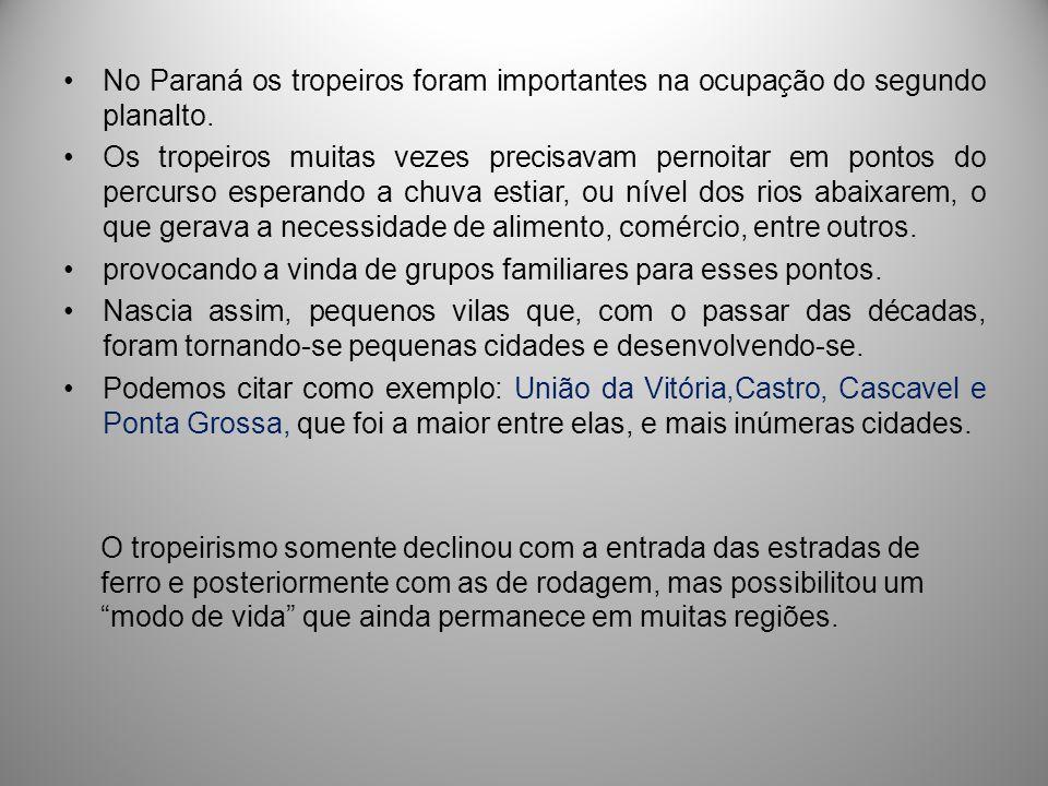 No Paraná os tropeiros foram importantes na ocupação do segundo planalto.