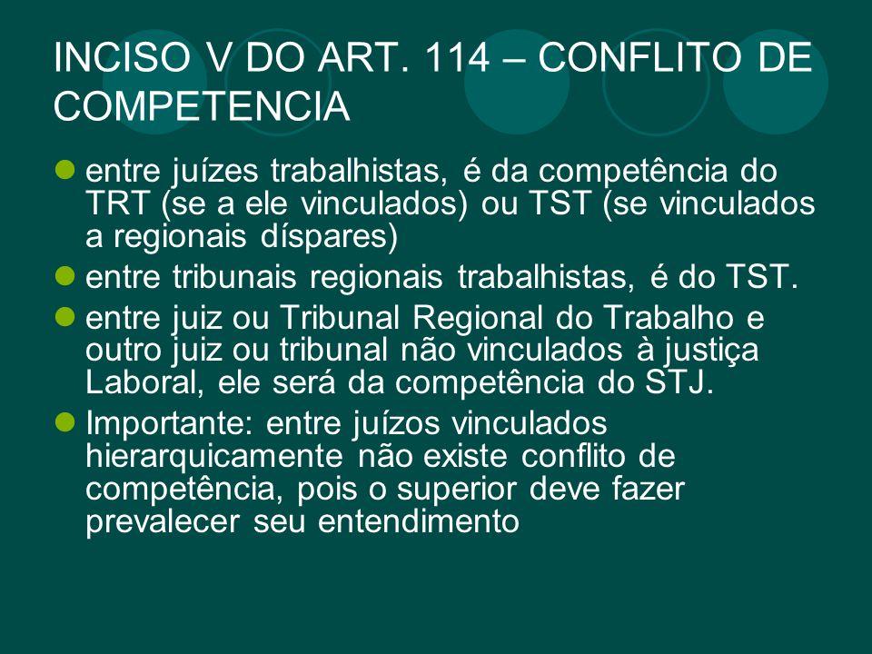 INCISO V DO ART. 114 – CONFLITO DE COMPETENCIA
