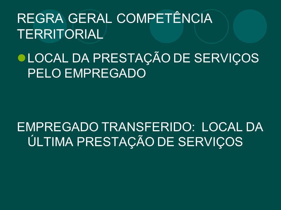 REGRA GERAL COMPETÊNCIA TERRITORIAL