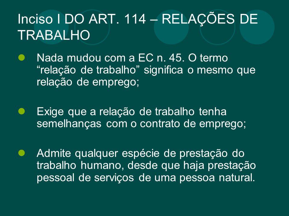 Inciso I DO ART. 114 – RELAÇÕES DE TRABALHO