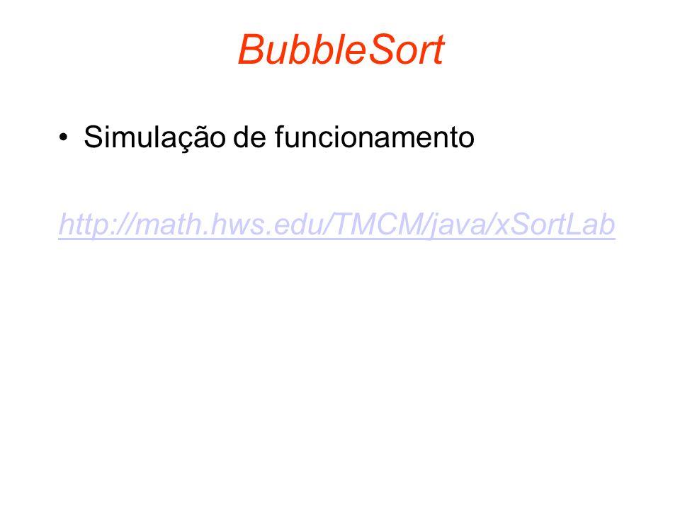 BubbleSort Simulação de funcionamento