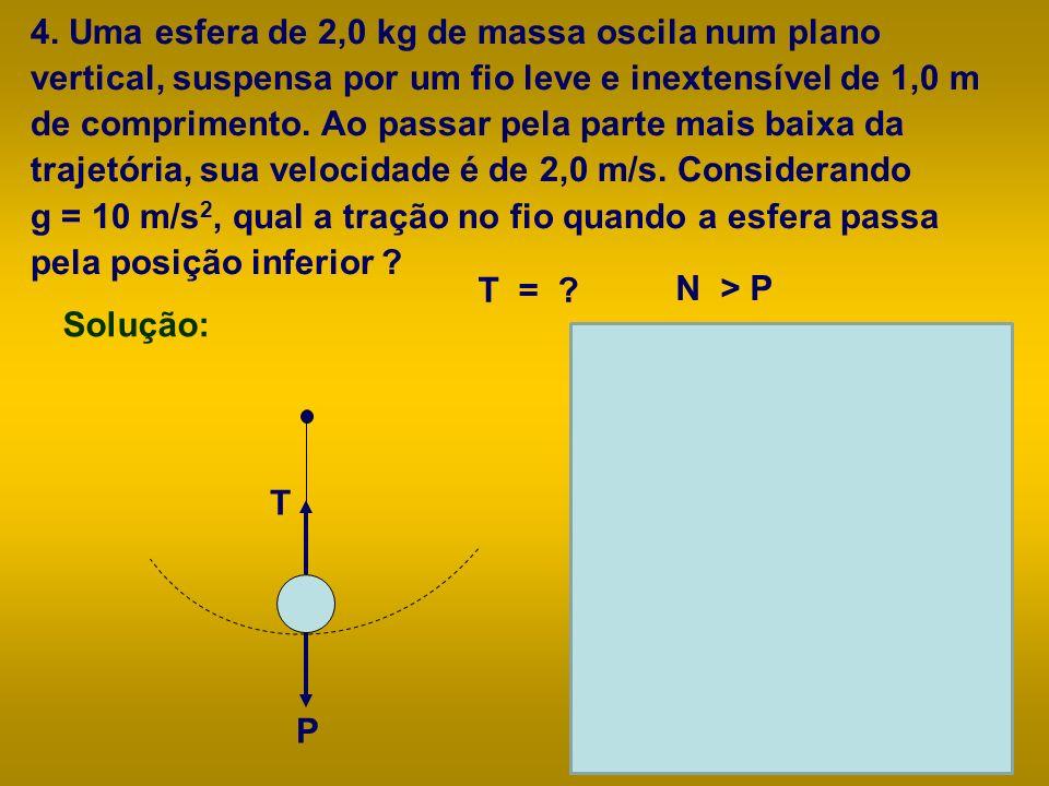 4. Uma esfera de 2,0 kg de massa oscila num plano vertical, suspensa por um fio leve e inextensível de 1,0 m de comprimento. Ao passar pela parte mais baixa da trajetória, sua velocidade é de 2,0 m/s. Considerando g = 10 m/s2, qual a tração no fio quando a esfera passa pela posição inferior