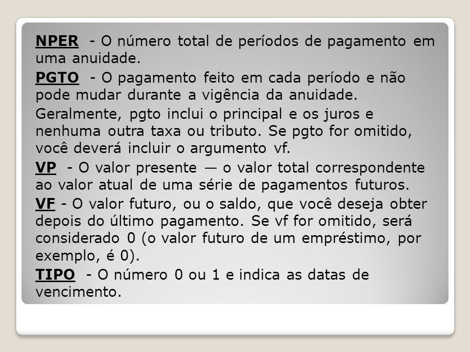 NPER - O número total de períodos de pagamento em uma anuidade