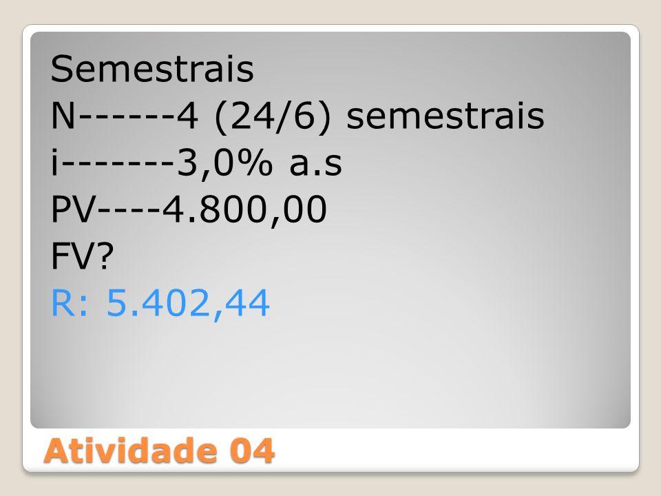Semestrais N------4 (24/6) semestrais i-------3,0% a. s PV----4