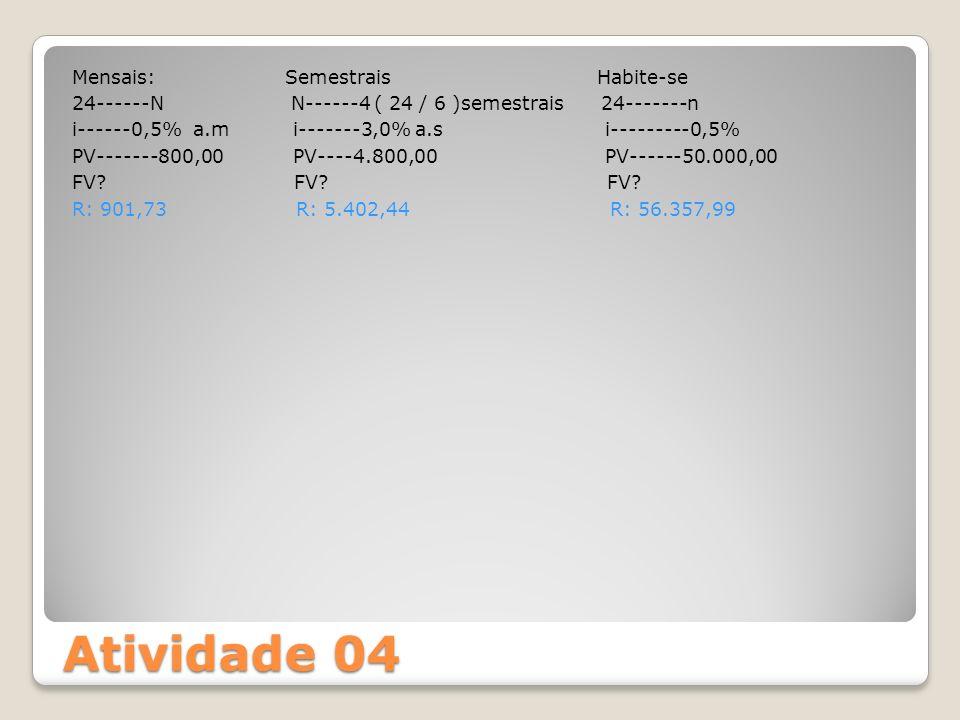 Mensais: Semestrais Habite-se 24------N N------4 ( 24 / 6 )semestrais 24-------n i------0,5% a.m i-------3,0% a.s i---------0,5% PV-------800,00 PV----4.800,00 PV------50.000,00 FV FV FV R: 901,73 R: 5.402,44 R: 56.357,99