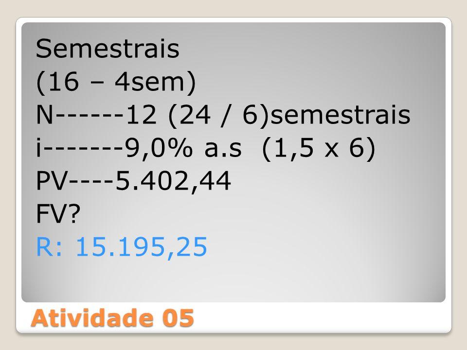 Semestrais (16 – 4sem) N------12 (24 / 6)semestrais i-------9,0% a