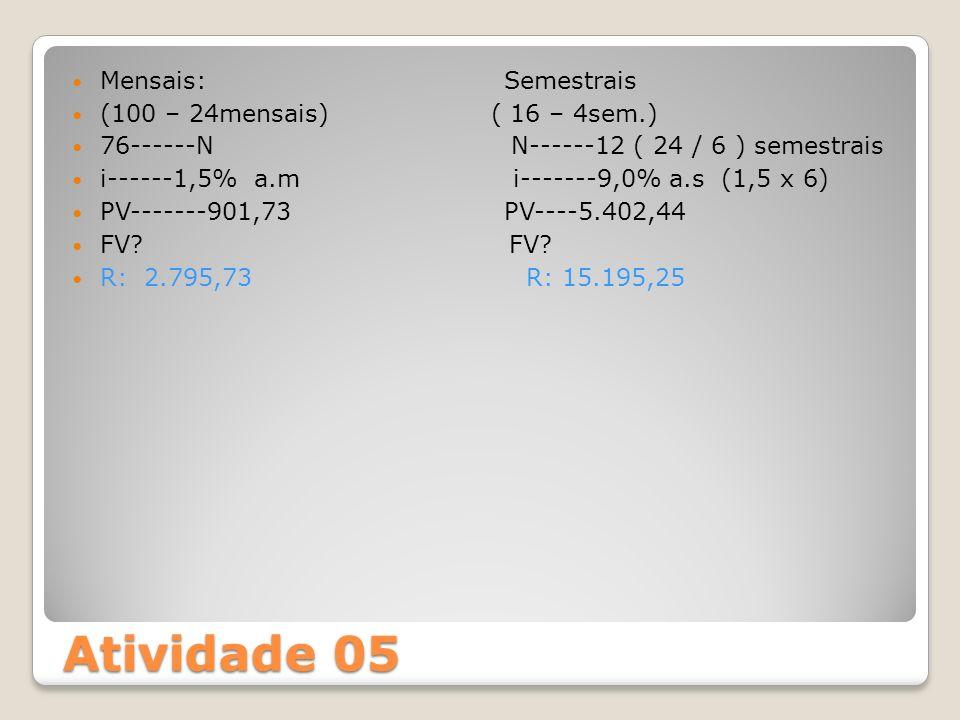 Atividade 05 Mensais: Semestrais (100 – 24mensais) ( 16 – 4sem.)