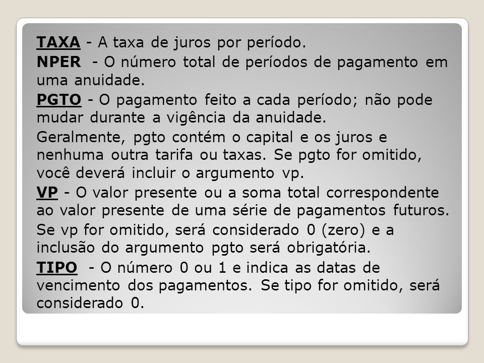 TAXA - A taxa de juros por período