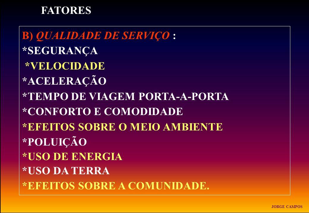 B) QUALIDADE DE SERVIÇO : *SEGURANÇA *VELOCIDADE *ACELERAÇÃO