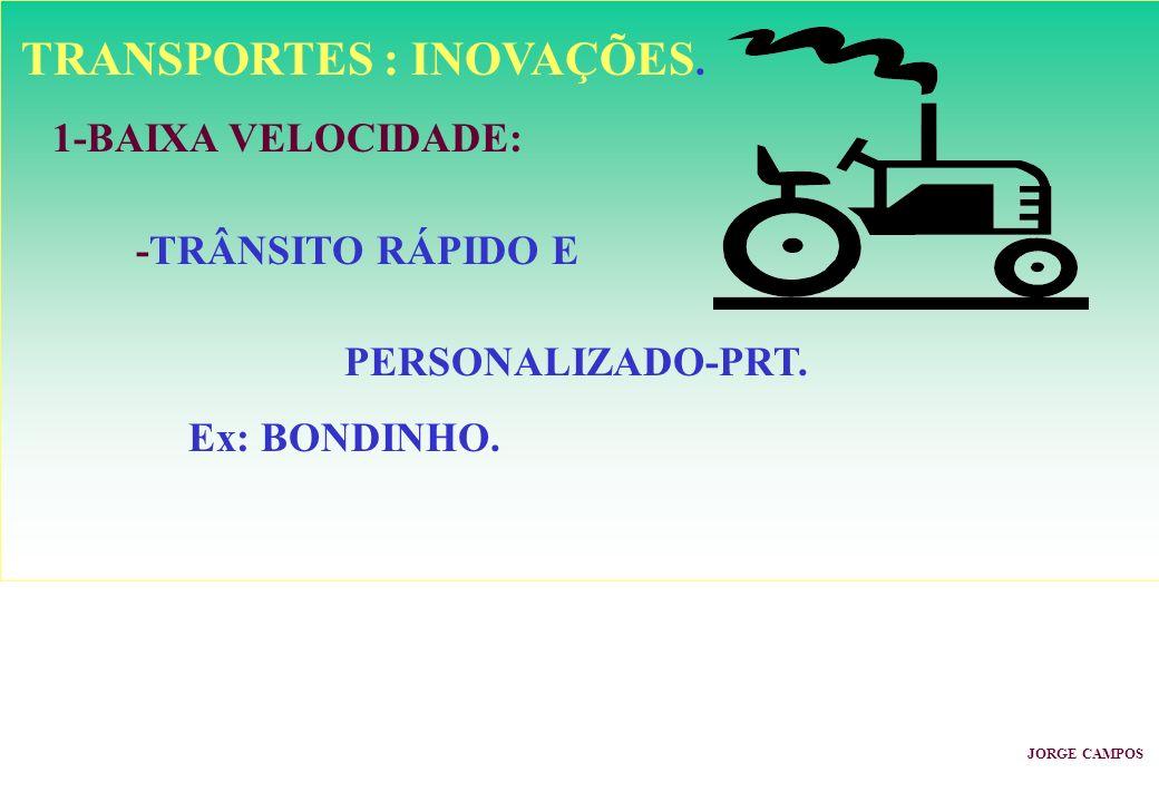 TRANSPORTES : INOVAÇÕES. 1-BAIXA VELOCIDADE: -TRÂNSITO RÁPIDO E