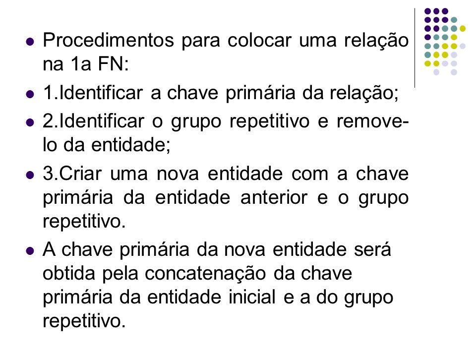 Procedimentos para colocar uma relação na 1a FN: