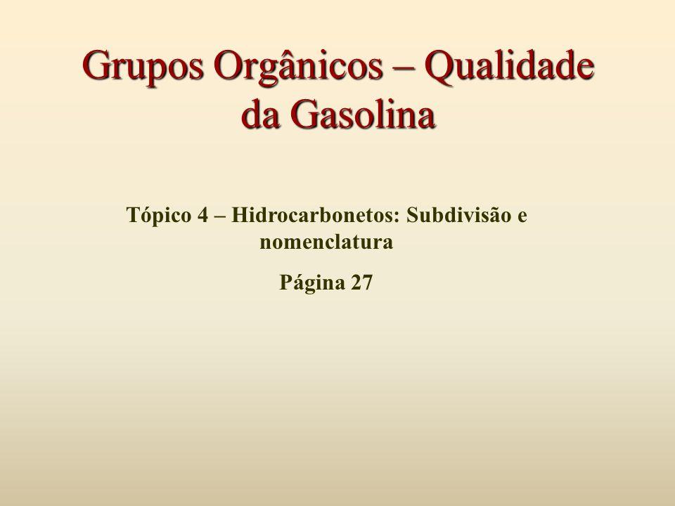 Grupos Orgânicos – Qualidade da Gasolina