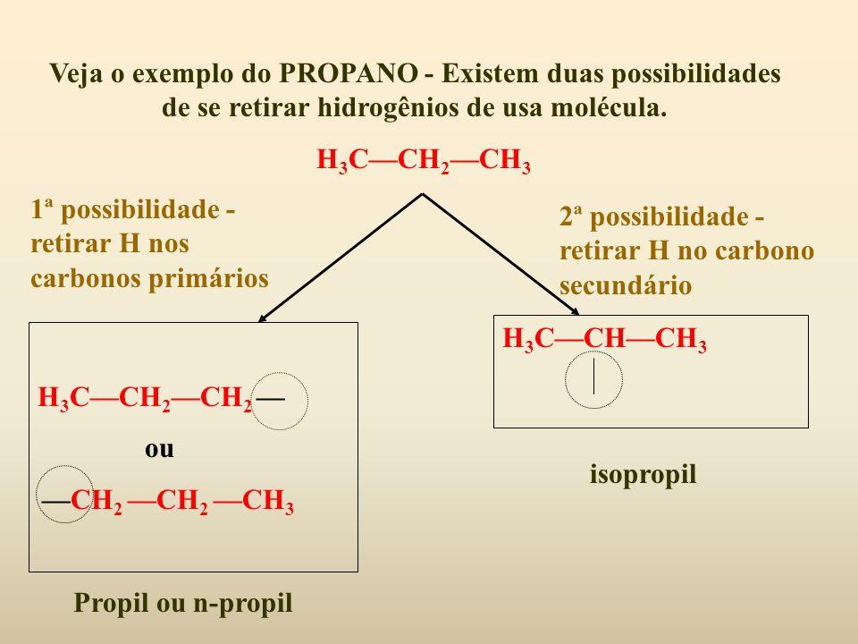 Veja o exemplo do PROPANO - Existem duas possibilidades de se retirar hidrogênios de usa molécula.