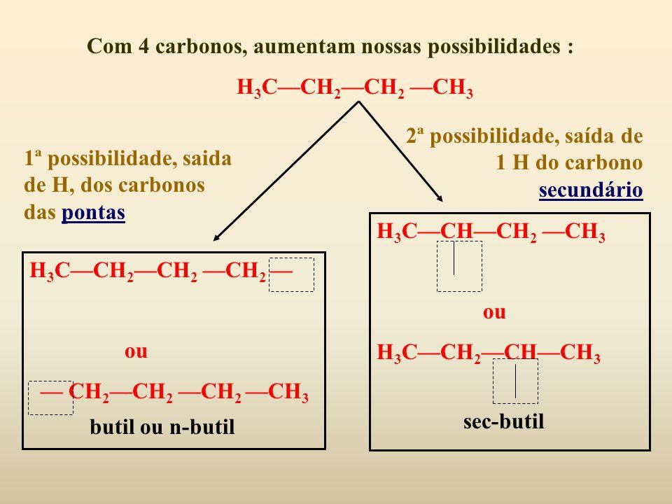 Com 4 carbonos, aumentam nossas possibilidades :