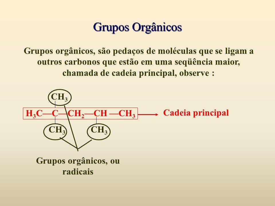 Grupos orgânicos, ou radicais