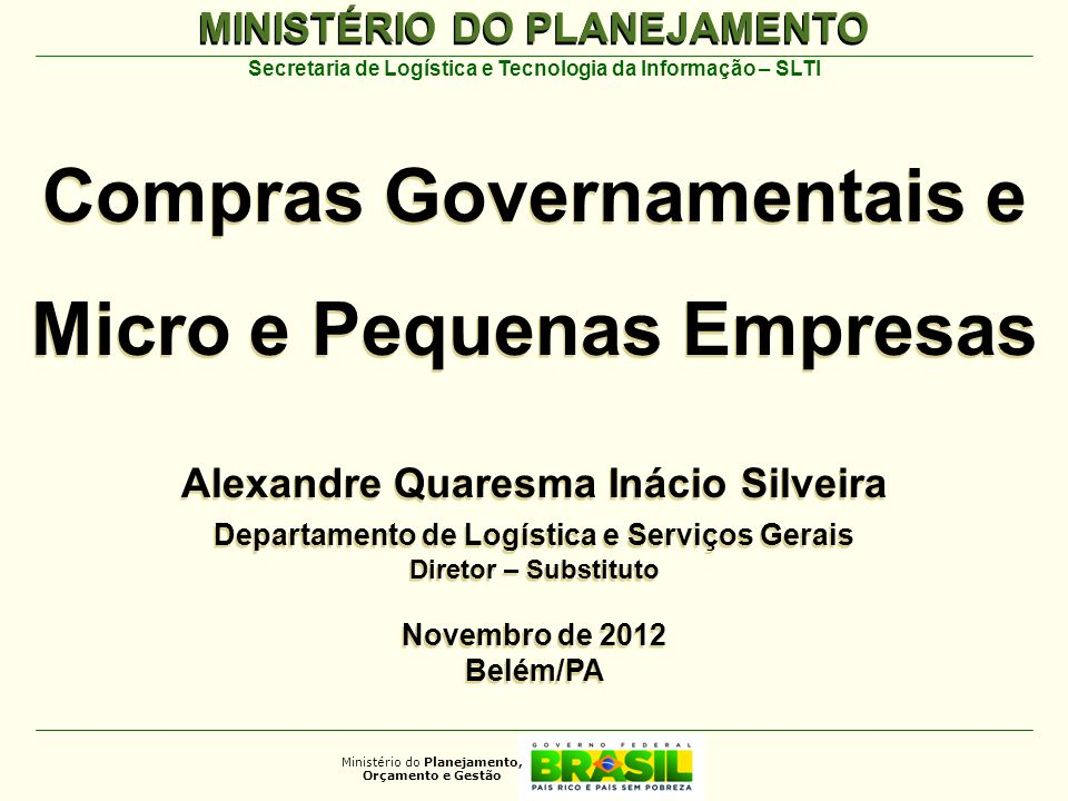 Compras Governamentais e Micro e Pequenas Empresas