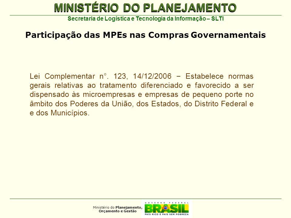 Participação das MPEs nas Compras Governamentais