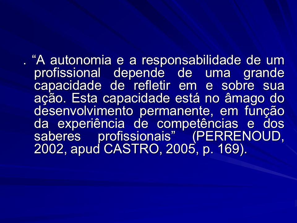 A autonomia e a responsabilidade de um profissional depende de uma grande capacidade de refletir em e sobre sua ação.