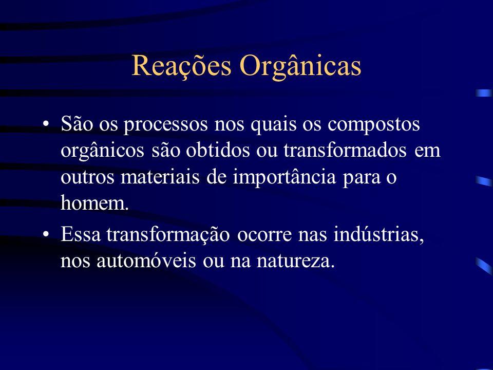 Reações Orgânicas São os processos nos quais os compostos orgânicos são obtidos ou transformados em outros materiais de importância para o homem.