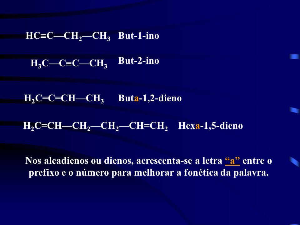 HCC—CH2—CH3 But-1-ino. But-2-ino. H3C—CC—CH3. H2C=C=CH—CH3. Buta-1,2-dieno. H2C=CH—CH2—CH2—CH=CH2.