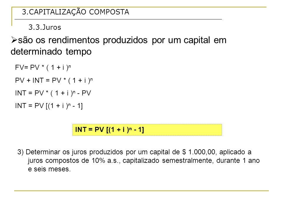 são os rendimentos produzidos por um capital em determinado tempo