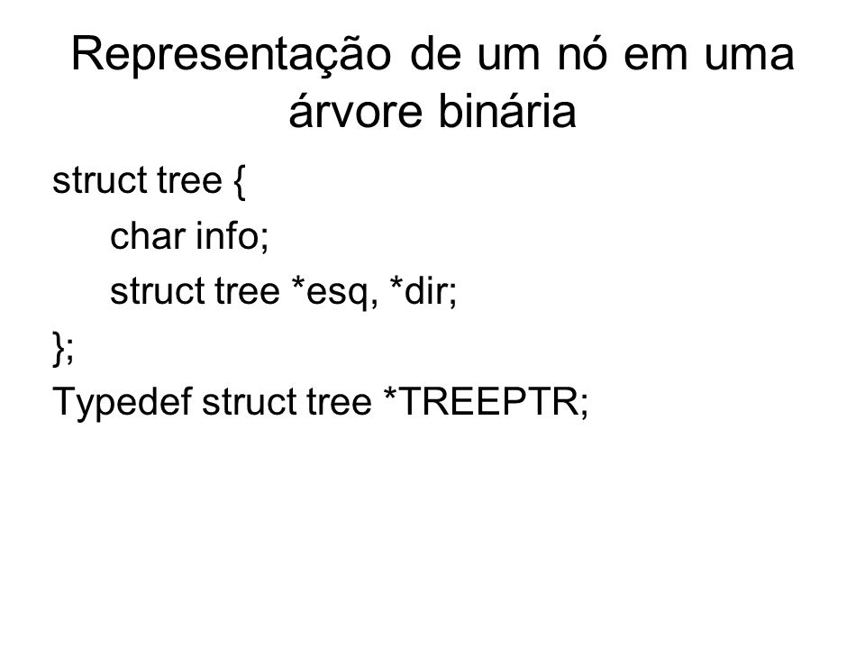 Representação de um nó em uma árvore binária