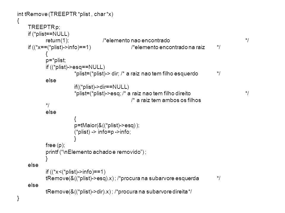 int tRemove (TREEPTR *plist , char *x)