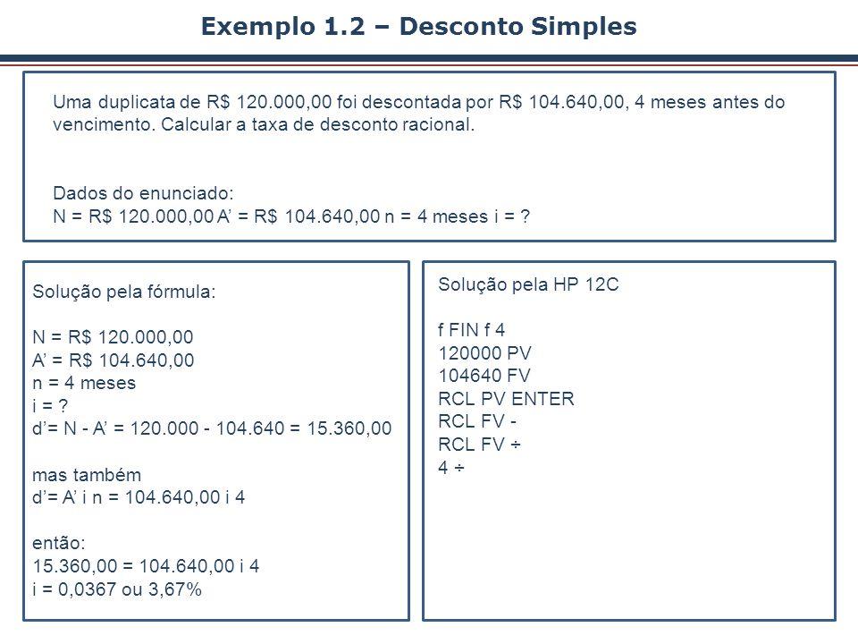 Exemplo 1.2 – Desconto Simples